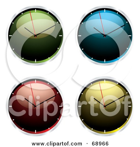 Royalty-Free (RF) Clipart Illustration of a Digital Collage Of Four Shiny 3d Wall Clocks by michaeltravers