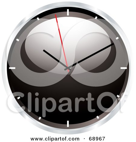 Royalty-Free (RF) Clipart Illustration of a Shiny Black 3d Wall Clock by michaeltravers