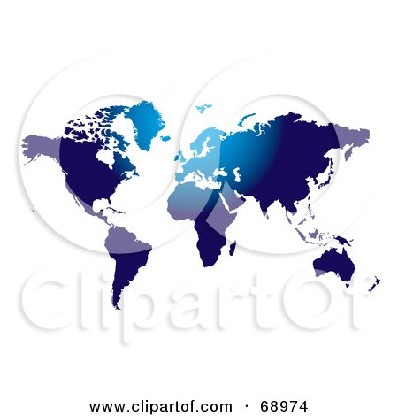 Royalty-Free (RF) Clipart Illustration of a Blue Atlas With Lighter Areas On White by michaeltravers