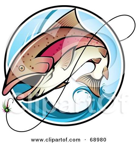 Royalty-Free (RF) Clipart Illustration of a Fish Leaping Out Of A Blue Wave To Bite A Lure by TA Images