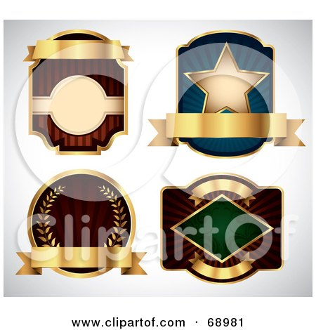 Royalty-Free (RF) Clipart Illustration of a Digital Collage Of Four Labels With Blank Gold Banners by TA Images
