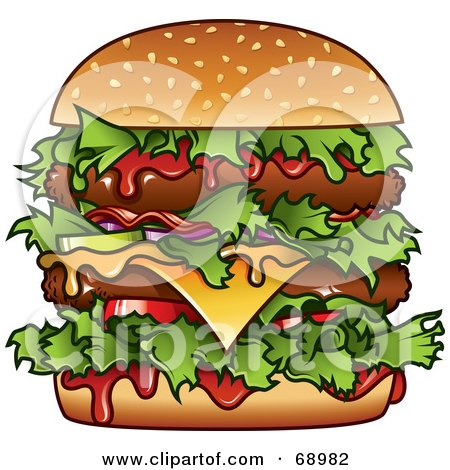 Royalty-Free (RF) Clipart Illustration of a Messy Double Cheese Burger With Ketchup by TA Images