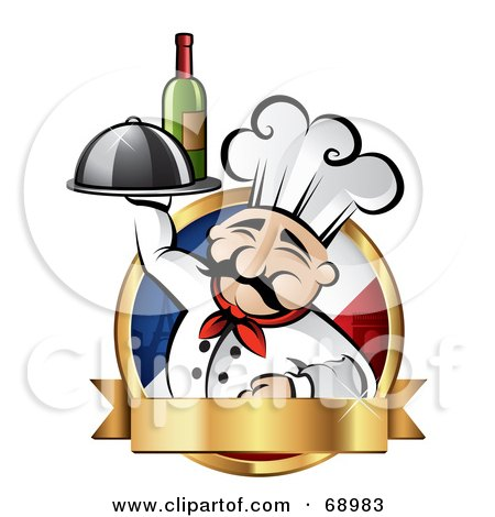 Royalty-Free (RF) Clipart Illustration of a Pleasant Chef Holding Wine And A Platter On A French Logo With A Gold Banner by TA Images