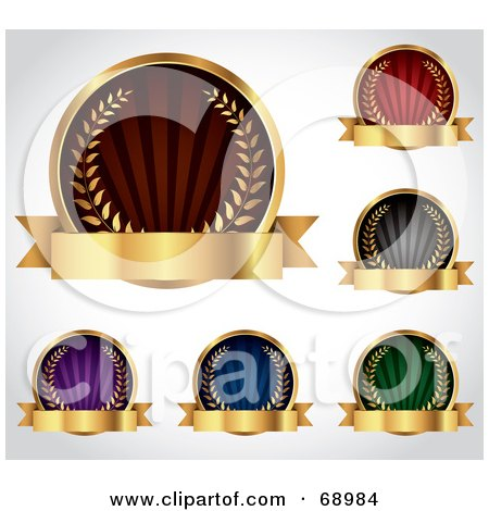 Royalty-Free (RF) Clipart Illustration of a Digital Collage Of Five Colorful Round Laurel Logos With Blank Gold Banners by TA Images