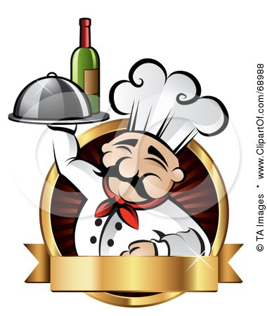 Royalty-Free (RF) Clipart Illustration of a Pleasant Chef Holding Wine And A Platter On A Red Logo With A Gold Banner by TA Images