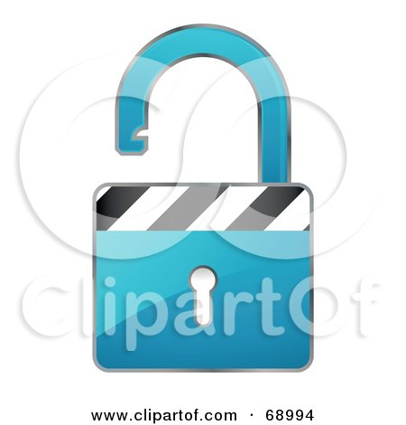 Royalty-Free (RF) Clipart Illustration of an Open 3d Blue Padlock With Stripes by beboy