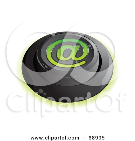 Royalty-Free (RF) Clipart Illustration of a Black Push Button With An At Symbol by beboy
