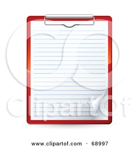 Royalty-Free (RF) Clipart Illustration of a Red Clipboard With A Blank Piece Of Ruled Paper by beboy