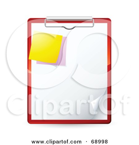 Royalty-Free (RF) Clipart Illustration of a Red Clipboard With A Blank Piece Of Paper And Sticky Notes by beboy