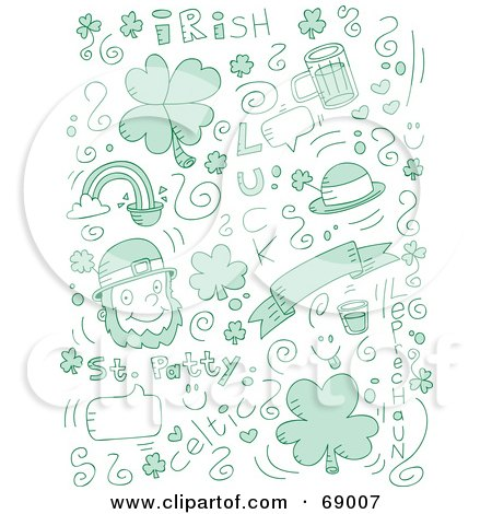 Royalty-Free (RF) Clipart Illustration of a Green Holiday Doodle Background Of St Patrick's Day Items On White by Cory Thoman