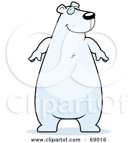 Royalty-Free (RF) Clipart Illustration of a Chubby White Polar Bear Character by Cory Thoman