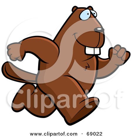 Royalty-Free (RF) Clipart Illustration of a Bucky Beaver Character Running by Cory Thoman