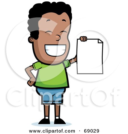 69029 Royalty Free RF Clipart Illustration Of A Proud Black Teen Boy Holding A Report Card Proud Black Teen Boy Holding A Report Card by Cory Thoman