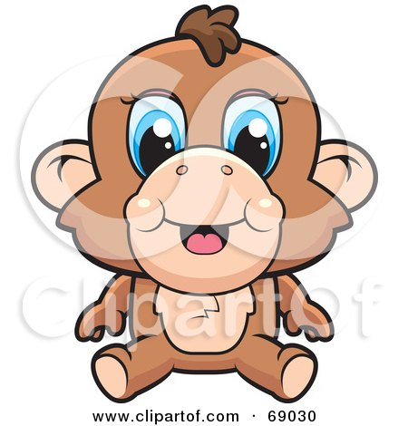 Royalty-Free (RF) Clipart Illustration of a Cute Baby Monkey With Blue Eyes by Cory Thoman