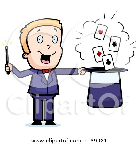 Royalty-Free (RF) Clipart Illustration of a Magician Man With Playing Cards In His Hat by Cory Thoman