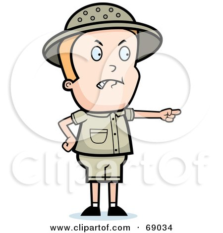 Royalty-Free (RF) Clipart Illustration of a Mad Safari Boy Pointing by Cory Thoman