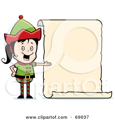 Royalty-Free (RF) Clipart Illustration of a Female Christmas Elf Presenting A Blank List by Cory Thoman
