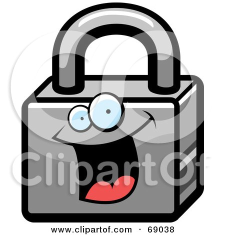 Royalty-Free (RF) Clipart Illustration of an Excited Padlock Character by Cory Thoman