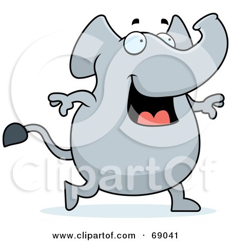 Royalty-Free (RF) Clipart Illustration of a Happy Smiling And Walking Gray Elephant by Cory Thoman