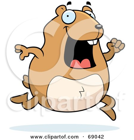 Royalty-Free (RF) Clipart Illustration of a Hyper Hamster Running by Cory Thoman