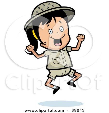 Royalty-Free (RF) Clipart Illustration of a Happy Safari Girl Jumping by Cory Thoman