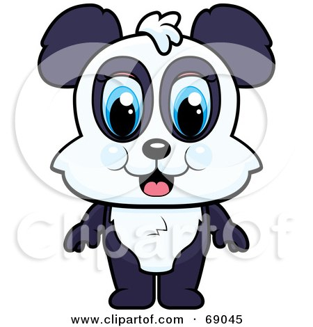 Royalty-Free (RF) Clipart Illustration of a Standing Cute Baby Panda by Cory Thoman