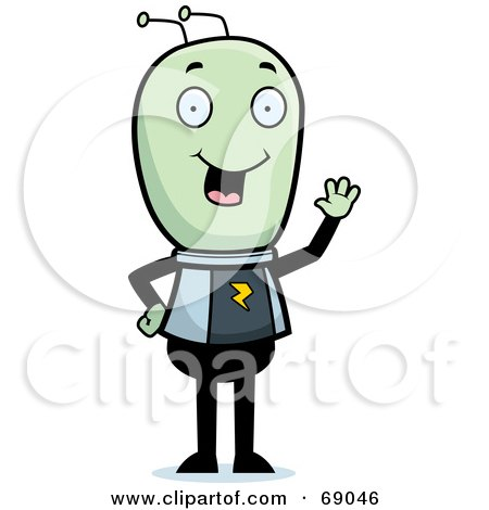 Royalty-Free (RF) Clipart Illustration of a Waving Green Extraterrestrial Being by Cory Thoman