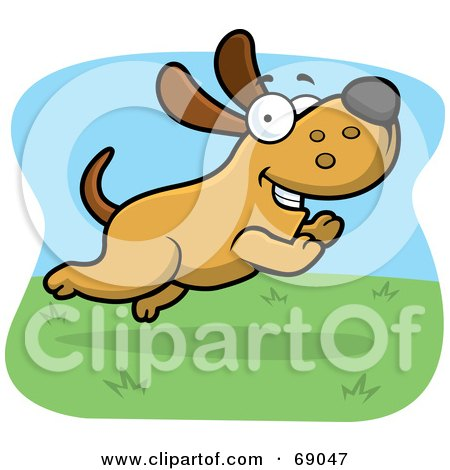 Royalty-Free (RF) Clipart Illustration of a Max Dog Character Running In Grass by Cory Thoman