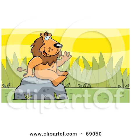 Royalty-Free (RF) Clipart Illustration of a Friendly Waving Lion Character On A Rock by Cory Thoman