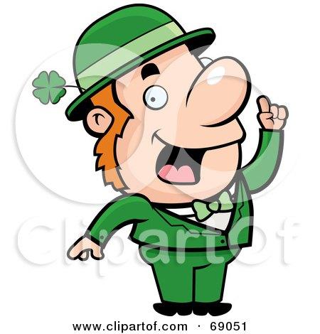 Royalty Free RF Clipart Illustration Of A Smart Leprechaun In Green