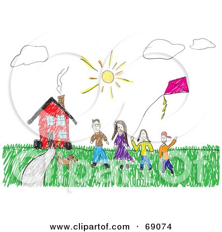 Child Like Drawing Of A Family And Their Pet With A Kite Outside Their Red House Posters, Art Prints