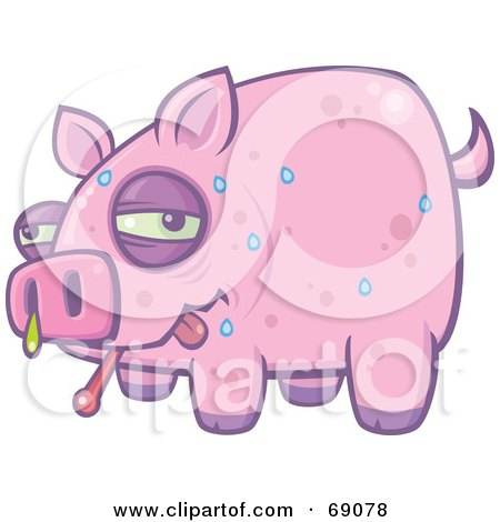 Royalty-Free (RF) Clipart Illustration of a Sweating And Snotting Pink Pig With The Swine Flu by John Schwegel