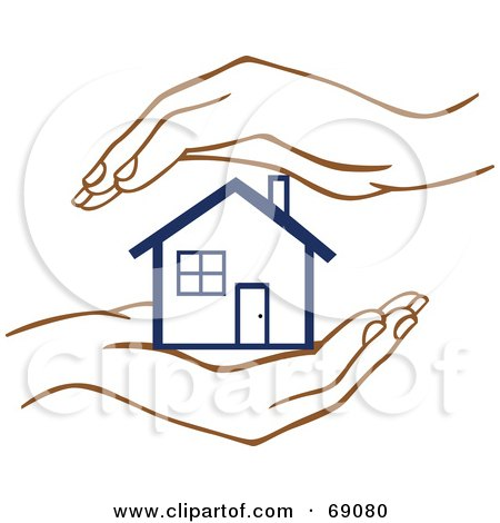 Royalty-Free (RF) Clipart Illustration of a Pair Of Human Hands Protecting A Blue Home by Cherie Reve