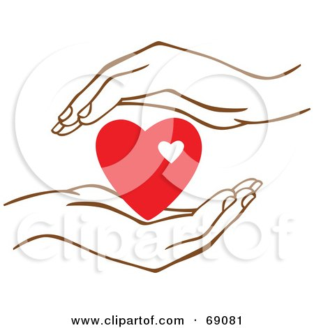 Royalty-Free (RF) Clipart Illustration of a Pair Of Human Hands Protecting A Red Heart by Cherie Reve