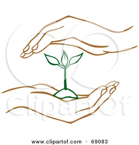 Royalty-Free (RF) Clipart Illustration of a Pair Of Human Hands Protecting A Green Seedling Plant by Cherie Reve