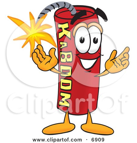 Clipart Picture of a Red Dynamite Mascot Cartoon Character by Toons4Biz