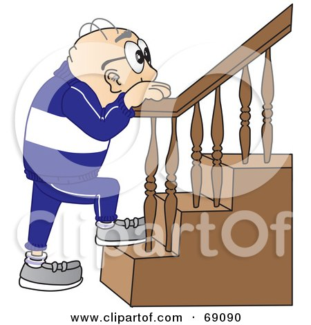 Royalty-Free (RF) Clipart Illustration of a Senior Man Character Climbing Stairs by Toons4Biz