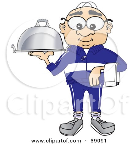 Royalty-Free (RF) Clipart Illustration of a Senior Man Character Serving a Platter by Toons4Biz