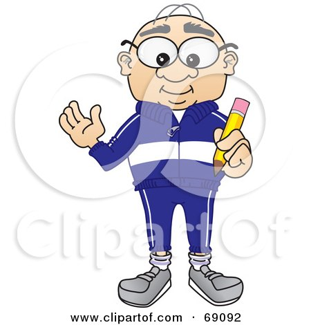 Royalty-Free (RF) Clipart Illustration of a Senior Man Character Holding A Pencil by Toons4Biz