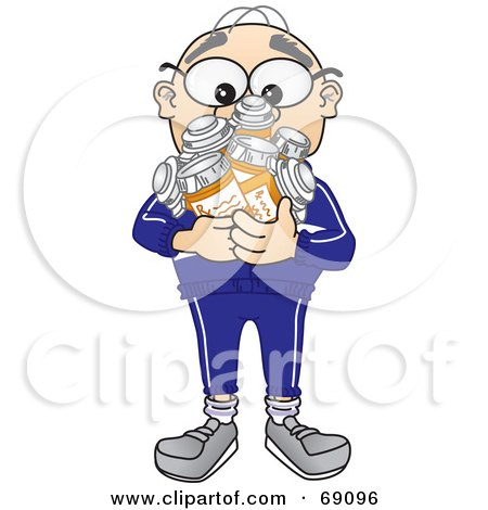 Royalty-Free (RF) Clipart Illustration of a Senior Man Character Holding Pill Bottles by Toons4Biz