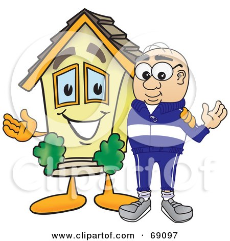 Royalty-Free (RF) Clipart Illustration of a Senior Man Character With a House by Toons4Biz