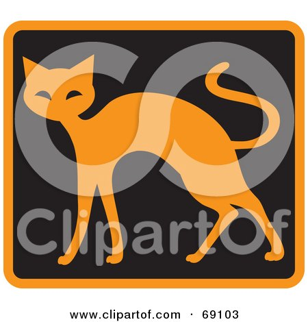 Royalty-Free (RF) Clipart Illustration of an Orange Cat on Black by Rosie Piter