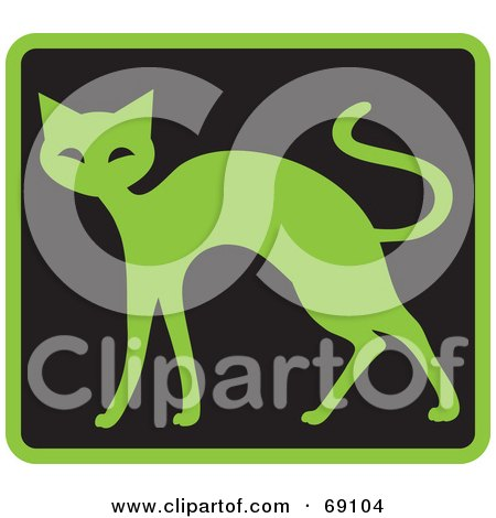 Royalty-Free (RF) Clipart Illustration of an Green Cat on Black by Rosie Piter