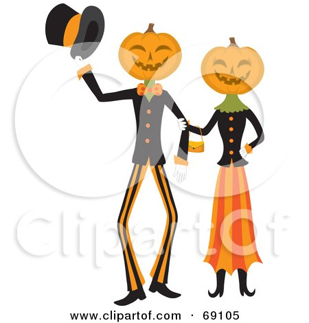 Royalty-Free (RF) Clipart Illustration of a Pumpkin Head Couple Walking Arm In Arm by Rosie Piter