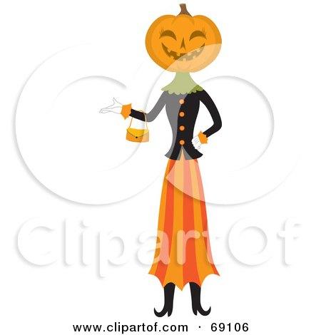 Pumpkin Head Woman Carrying a Purse Posters, Art Prints