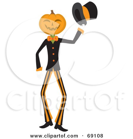 Pumpkin Head Man Holding Out His Hat Posters, Art Prints