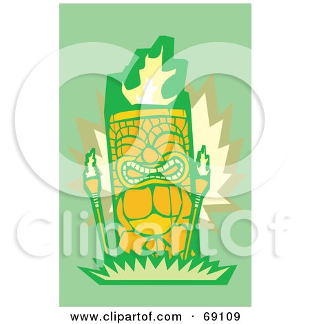Royalty-Free (RF) Clipart Illustration of an Orange Tiki With Torches On A Green Background by xunantunich