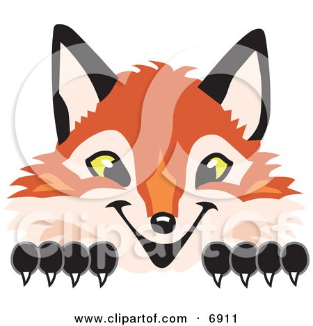 Clipart Picture of a Fox Mascot Cartoon Character Peeking by Toons4Biz