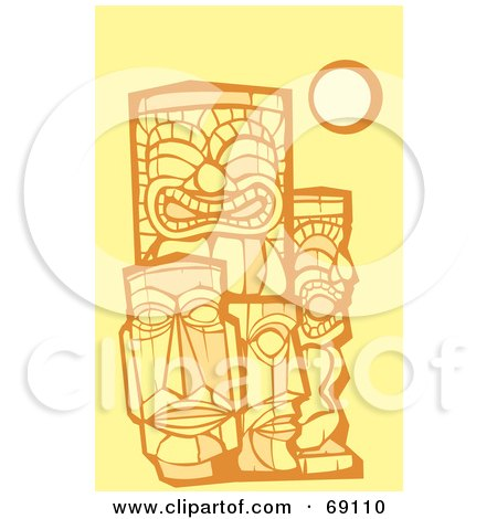 Royalty-Free (RF) Clipart Illustration of a Group of Tikis On A Yellow Background by xunantunich