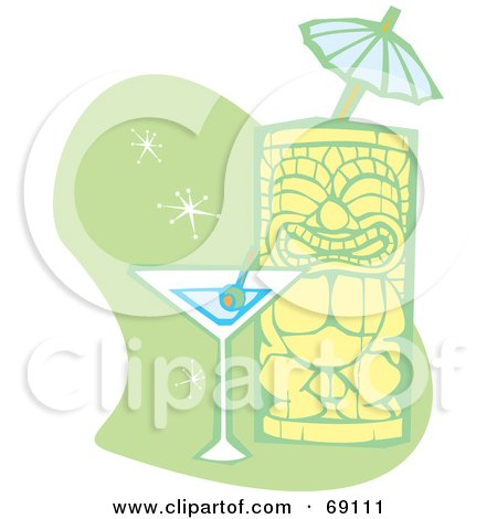 Royalty-Free (RF) Clipart Illustration of a Happy Tiki With A Martini And Umbrella On A Green And White Background by xunantunich